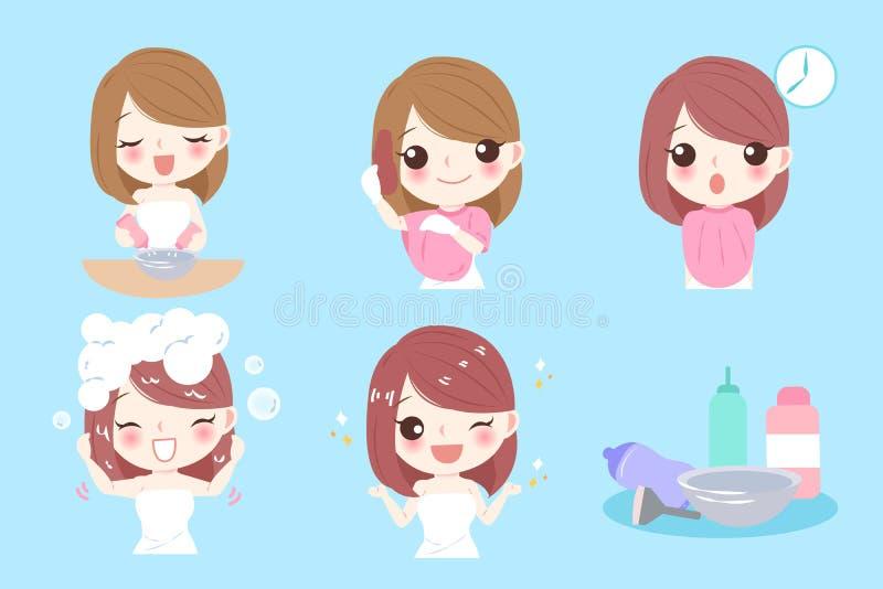 Donna con coloritura di capelli illustrazione di stock