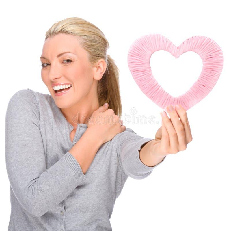 Donna con cuore immagini stock libere da diritti
