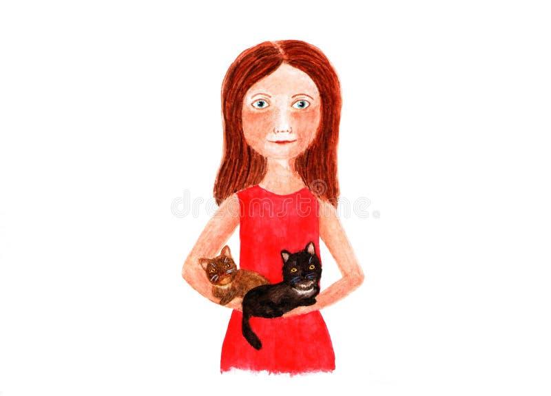 Donna con due gatti nelle sue armi Illustrazione dell'acquerello immagine stock libera da diritti