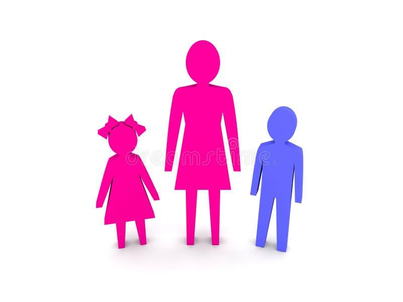 Donna con i bambini. Famiglia monoparentale. illustrazione di stock