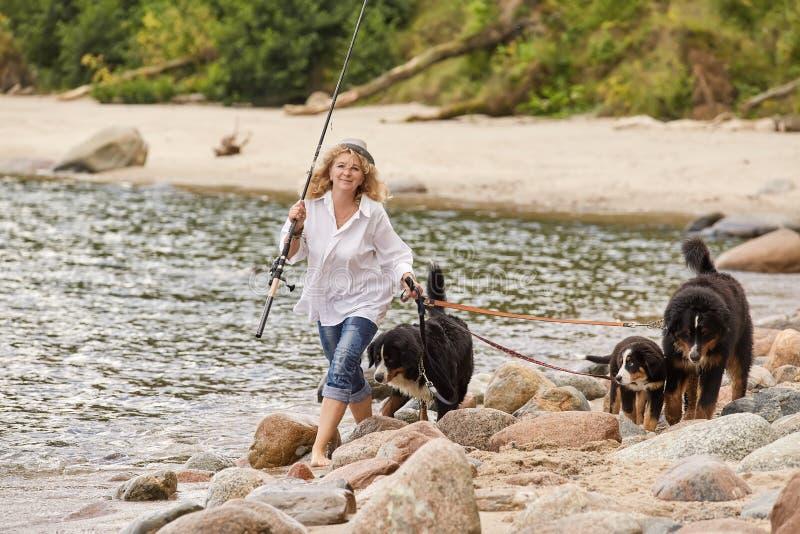 Donna con i cani fotografie stock libere da diritti