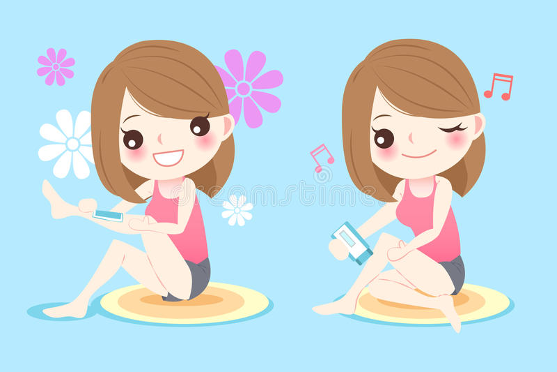 Donna con i capelli della gamba illustrazione di stock