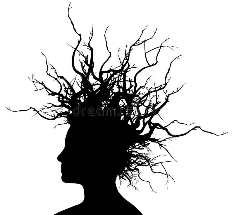 Donna con i capelli delle filiali. royalty illustrazione gratis