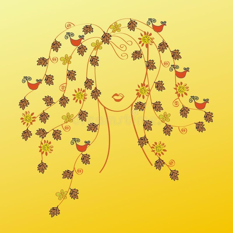 Donna con i capelli di caduta illustrazione vettoriale