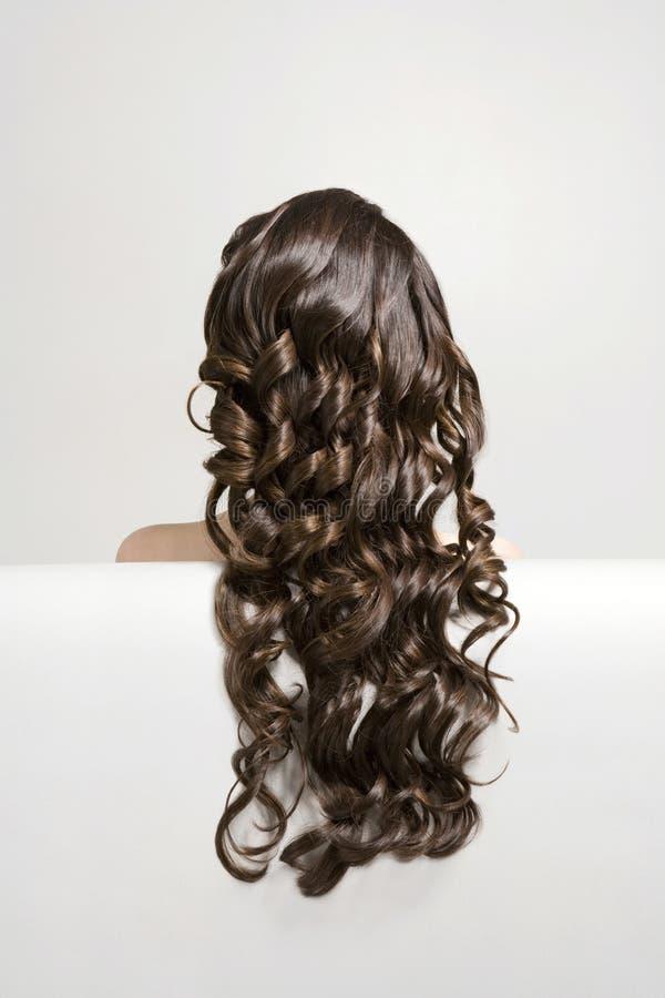 Donna con i capelli ricci lunghi di Brown fotografia stock