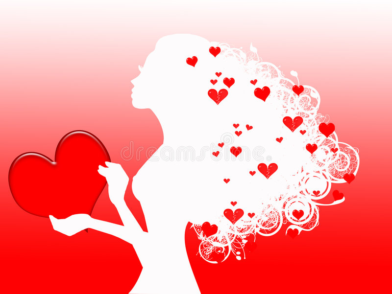 Donna con i cuori rossi illustrazione vettoriale