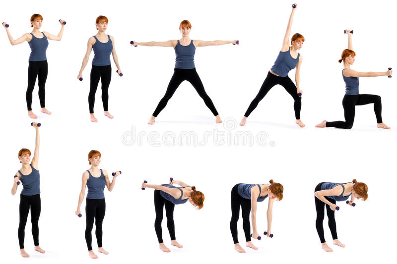 Donna con i Dumbbells in varie pose immagine stock