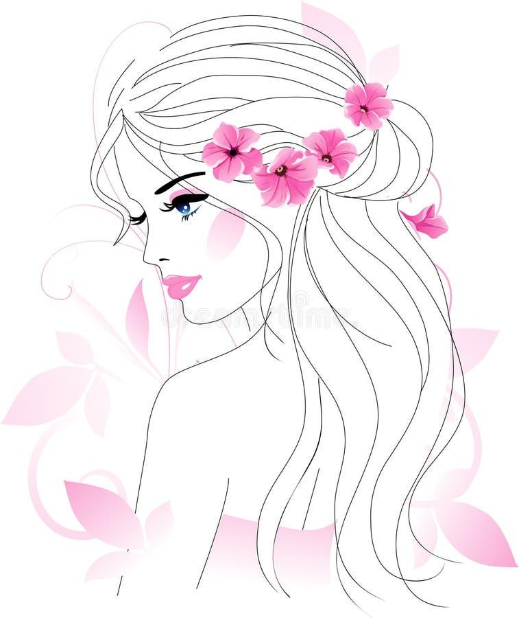 Donna con i fiori illustrazione di stock
