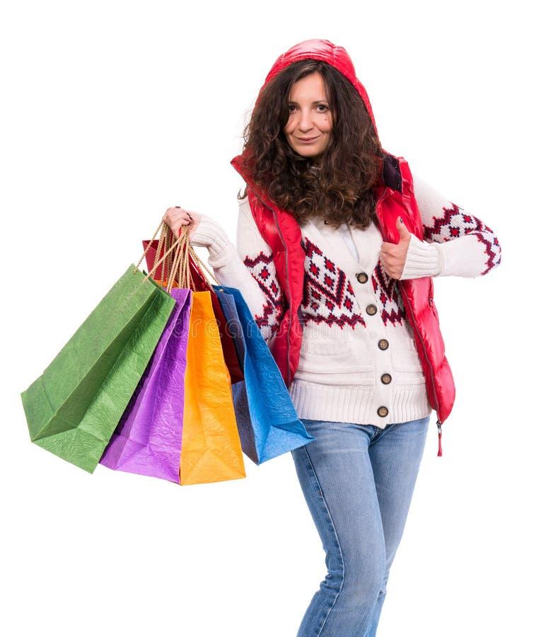Donna con i sacchetti della spesa immagine stock libera da diritti