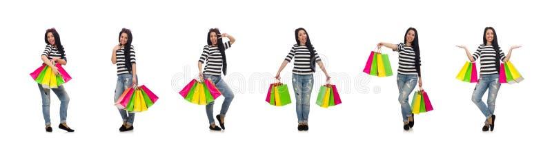 Donna con i sacchetti della spesa isolati su bianco fotografie stock libere da diritti