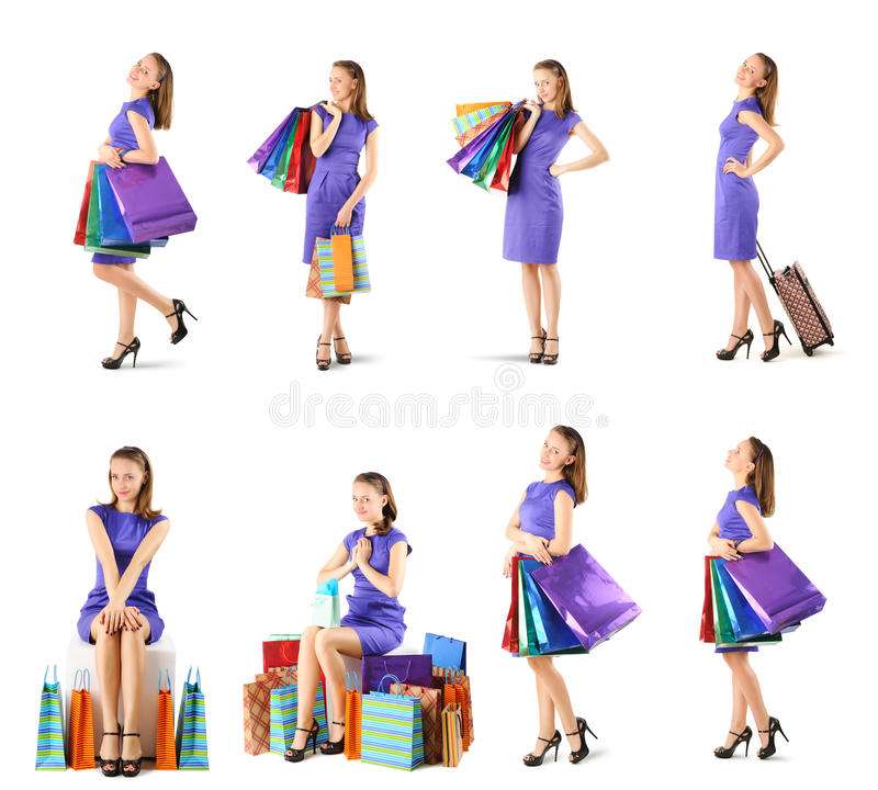 Donna con i sacchetti della spesa messi fotografie stock