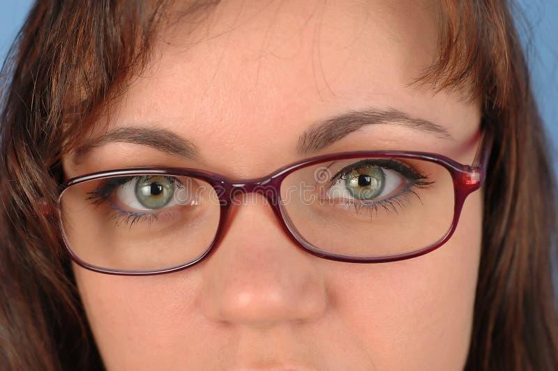 Donna con i vetri 2 fotografia stock