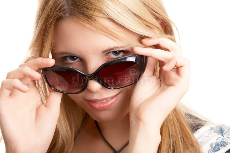 Donna con i vetri di sole immagini stock