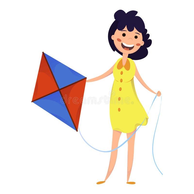 Donna con icona aquilone, stile fumetto royalty illustrazione gratis