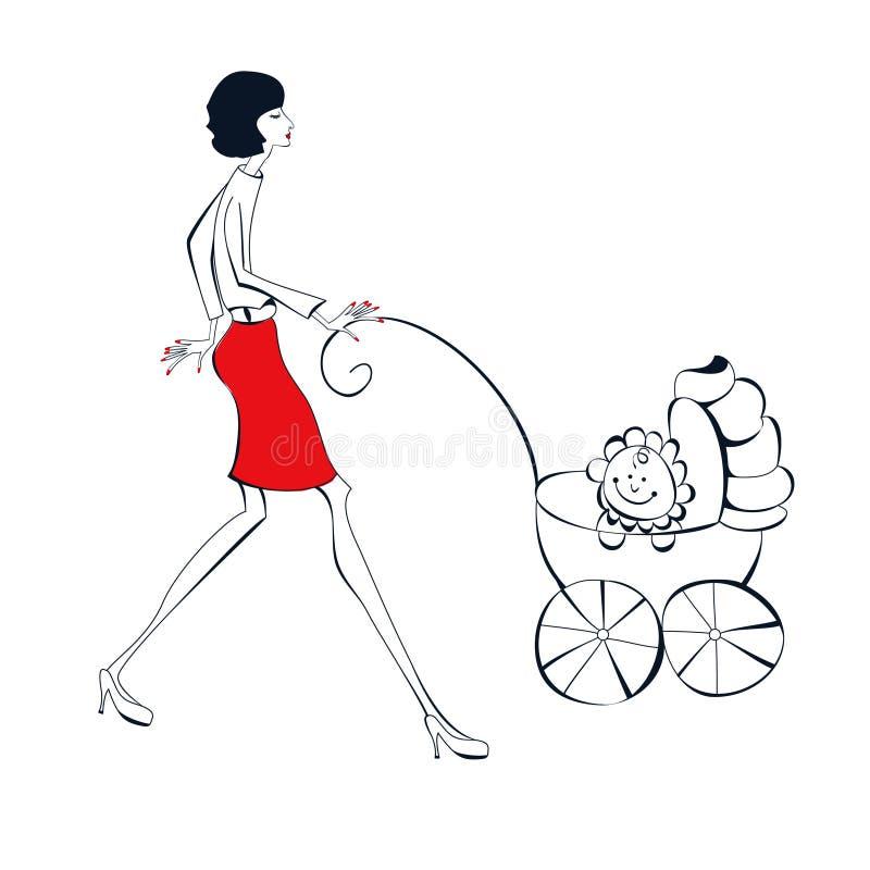 Donna con il bambino illustrazione di stock