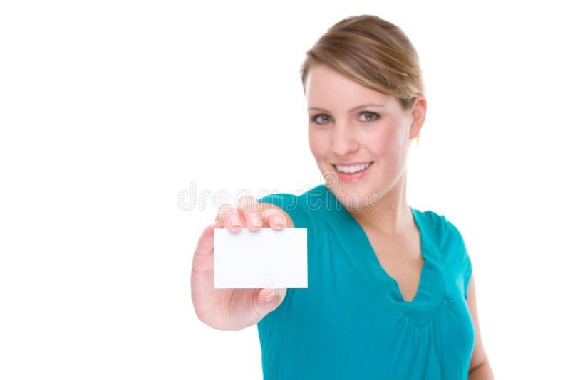 Donna con il biglietto da visita immagine stock libera da diritti