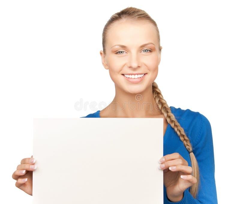 Donna con il bordo in bianco immagine stock