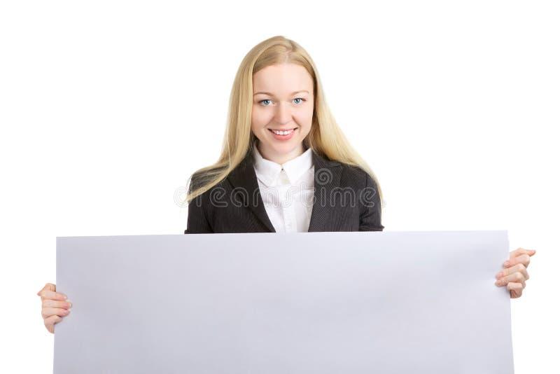 Donna con il bordo bianco vuoto immagini stock libere da diritti