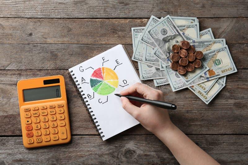 Donna con il calcolatore, il grafico di valutazione di rendimento energetico ed i soldi su fondo di legno immagini stock libere da diritti