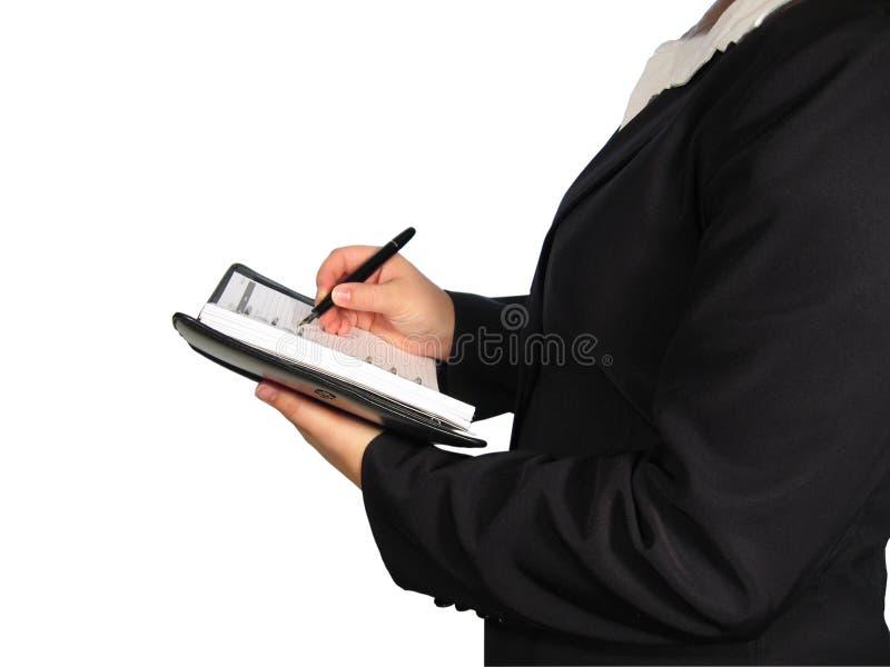 Donna con il calendario immagine stock