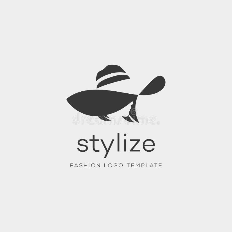 Donna con il cappello di modo Vettore astratto Logo Design Template fotografia stock libera da diritti