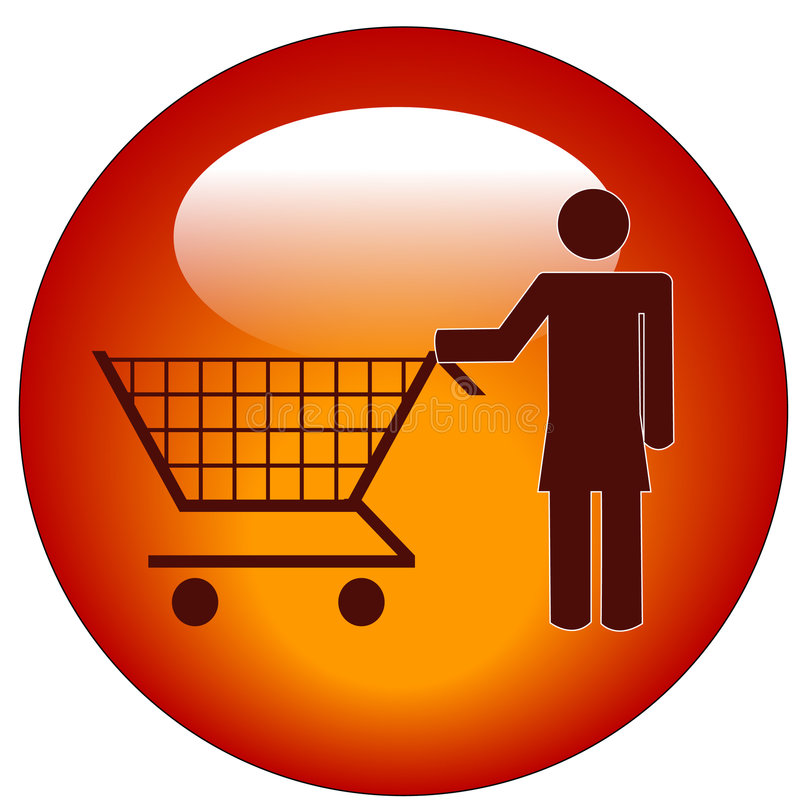 Donna con il carrello di acquisto illustrazione vettoriale