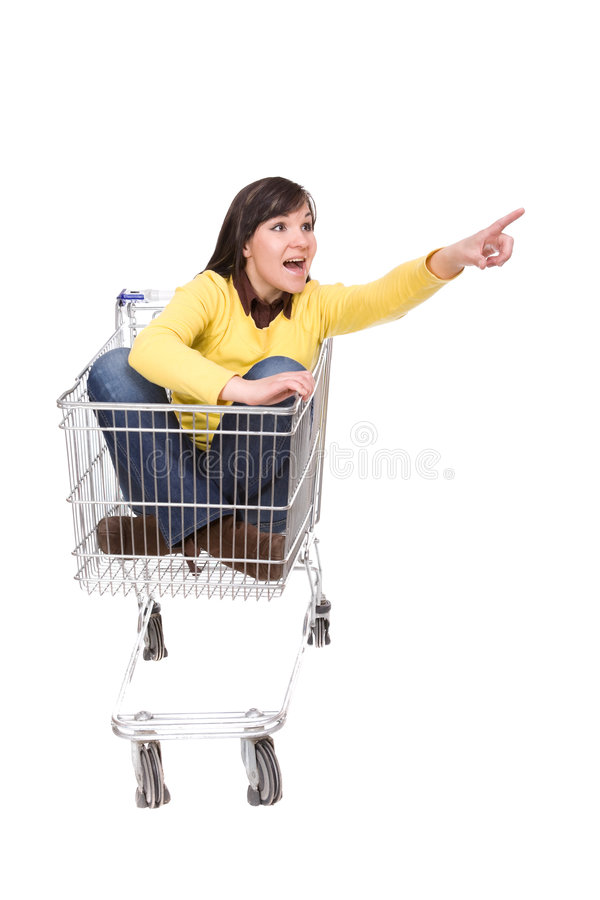 Donna con il carrello di acquisto immagine stock