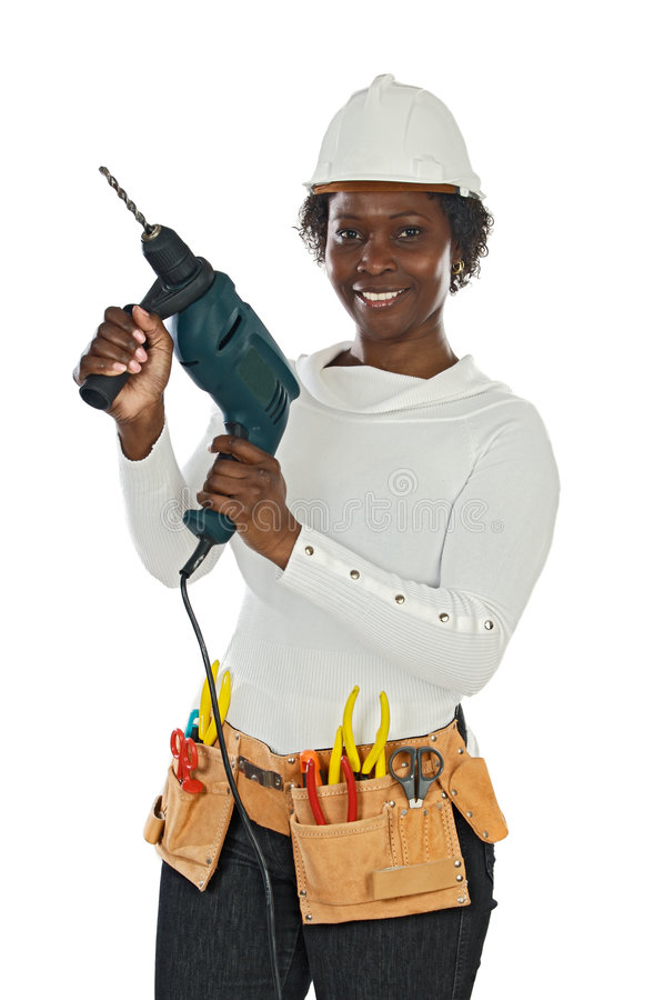 Donna con il casco e gli strumenti immagini stock libere da diritti