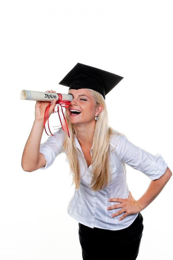 Donna con il diploma fotografie stock