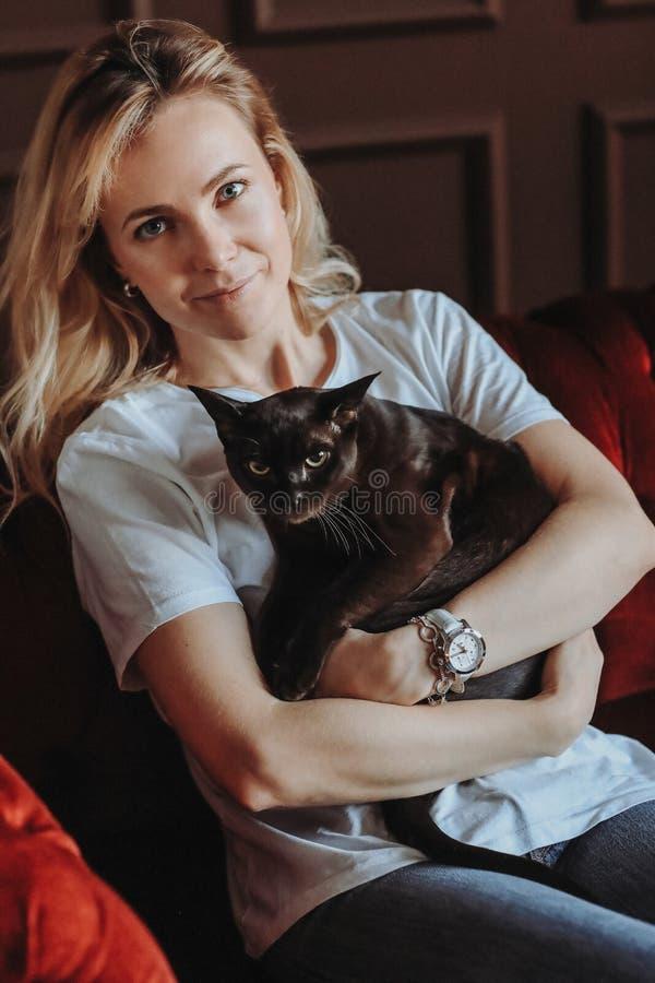 Donna con il gatto immagini stock