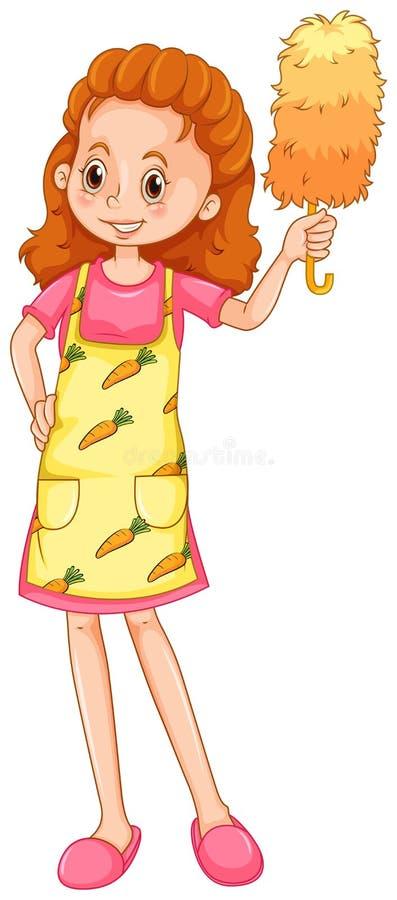 Donna con il grembiule e lo spolveratore royalty illustrazione gratis