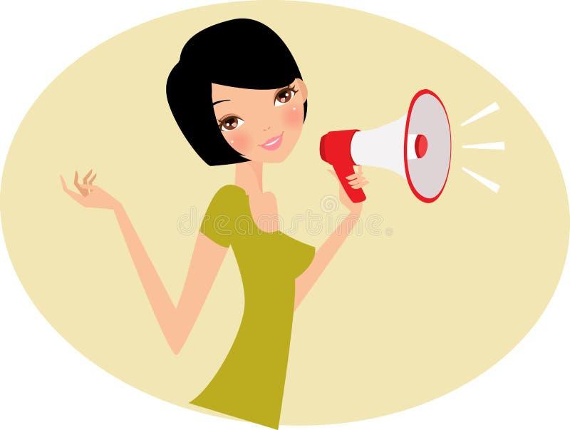 Donna con il megafono illustrazione di stock
