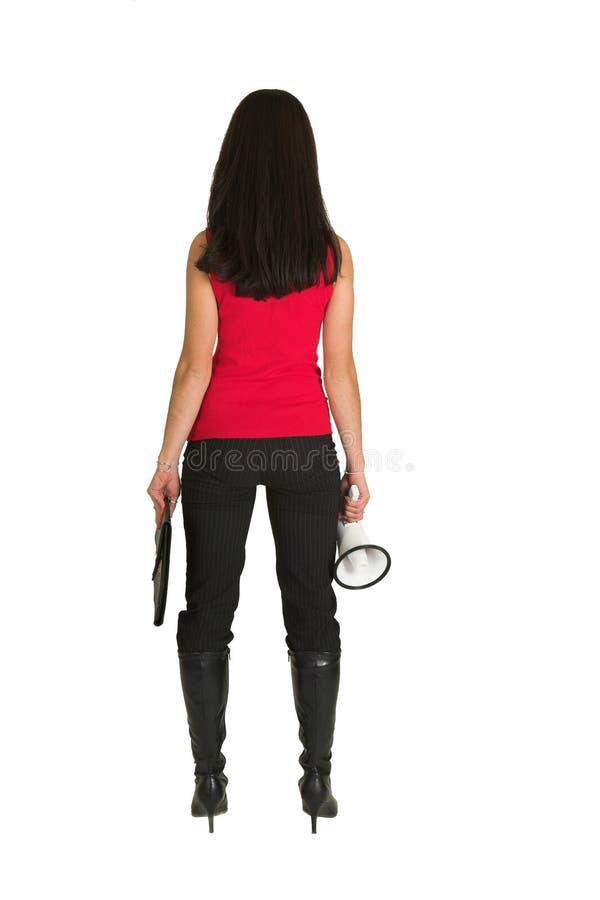 Donna con il megafono immagine stock libera da diritti