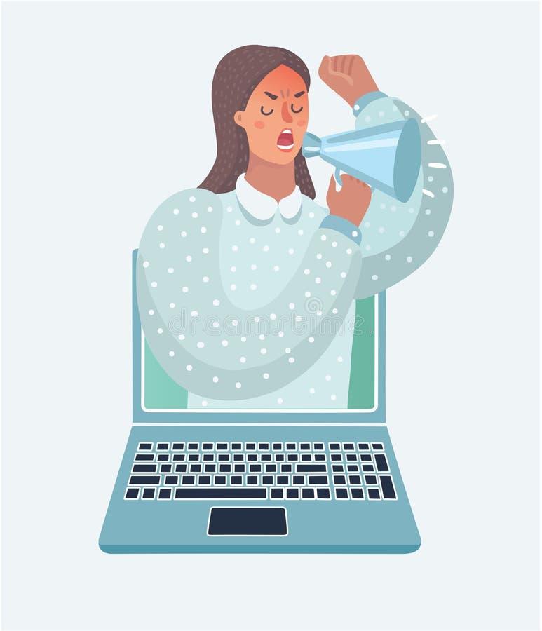Donna con il megafono che parla dallo schermo illustrazione di stock