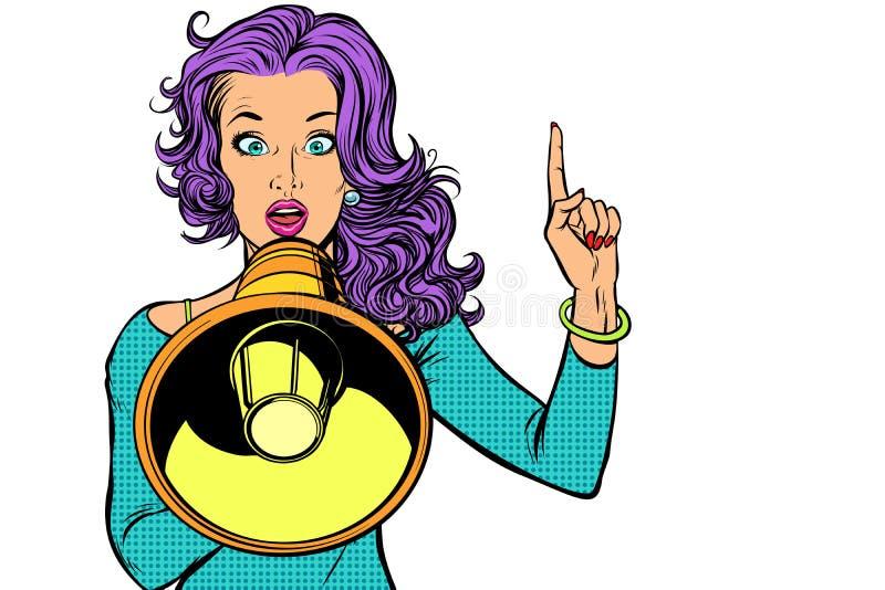 Donna con il megafono, isolato su fondo bianco illustrazione di stock
