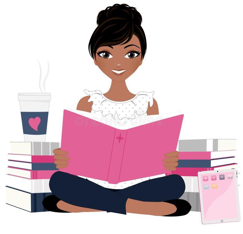 Donna con il mucchio del libro fotografia stock