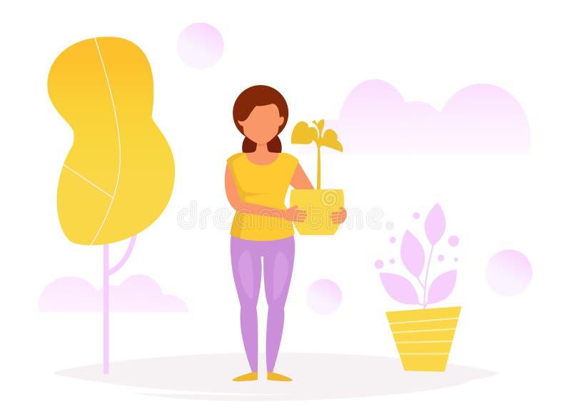 Donna con il POT di fiore royalty illustrazione gratis