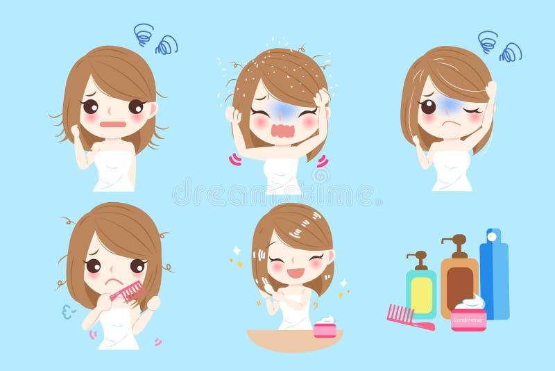 Donna con il problema dei capelli illustrazione vettoriale