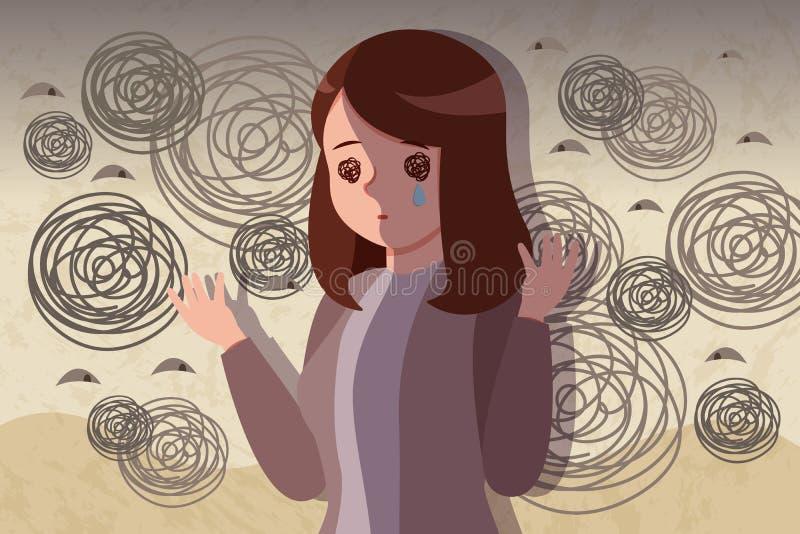 Donna con il problema depresso illustrazione vettoriale