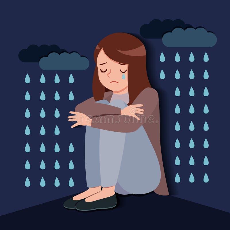 Donna con il problema depresso illustrazione di stock