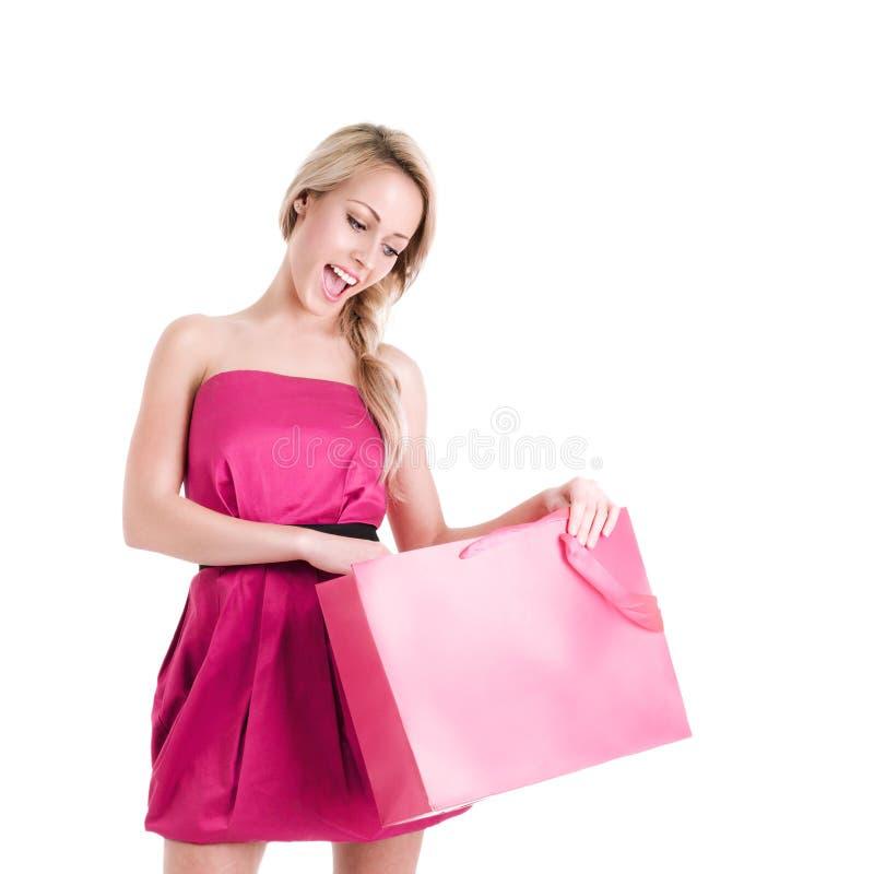Donna con il sacchetto di acquisto fotografia stock