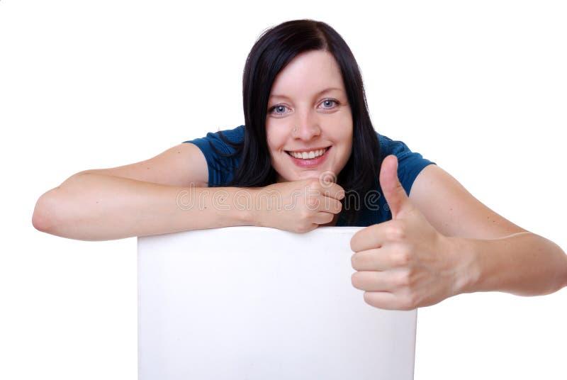 Donna con il segno in bianco immagini stock