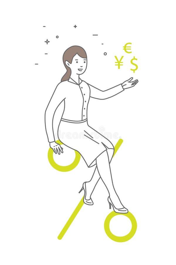 Donna con il segno di percentuali Commercio, illustrazione del fumetto di vettore illustrazione di stock