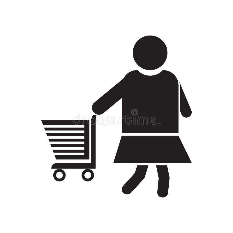 Donna con il segno ed il simbolo di vettore dell'icona del carrello isolata su fondo bianco, donna con il concetto di logo del ca royalty illustrazione gratis