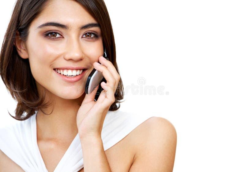 Donna con il telefono immagini stock libere da diritti