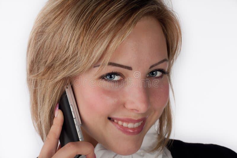 Donna con il telefono mobile fotografie stock libere da diritti
