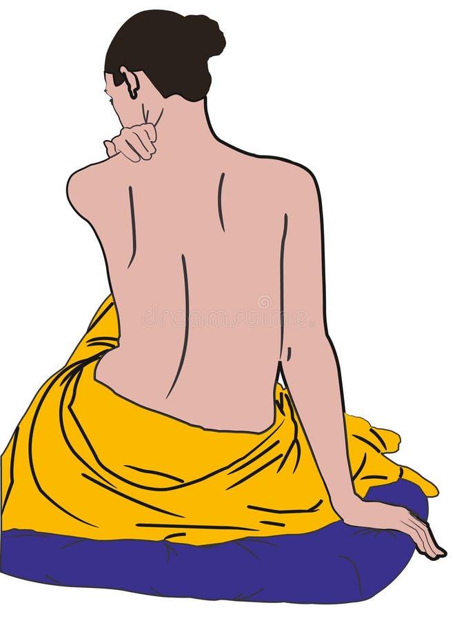 Donna con il tovagliolo royalty illustrazione gratis