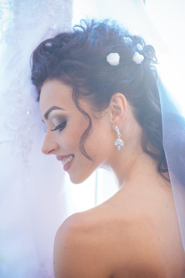 Donna con il velo nuziale su capelli castana Sorriso felice della sposa sul giorno delle nozze Donna sensuale con trucco professi fotografia stock libera da diritti