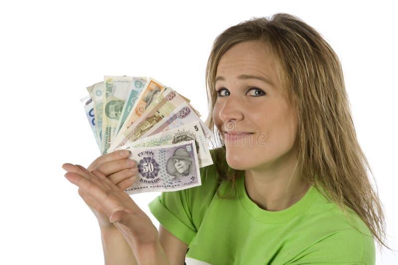 Donna con il ventilatore di soldi fotografia stock