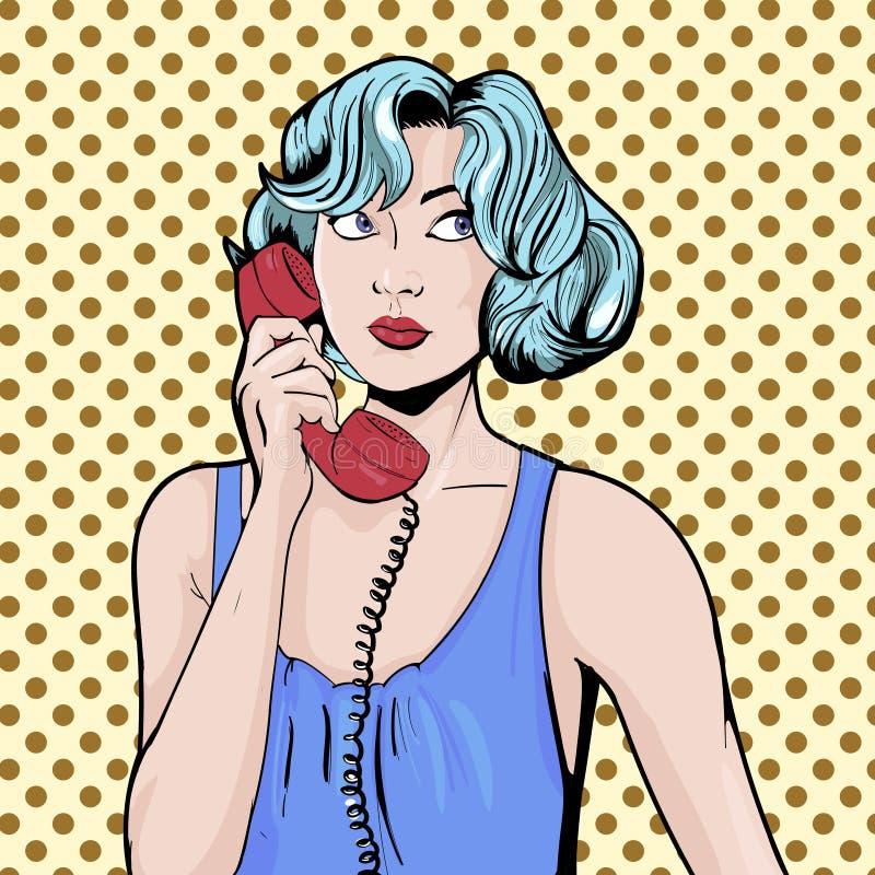 Donna con illustrazione di vettore di Pop art del telefono la retro Libro di fumetti illustrazione di stock